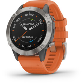 Garmin Fenix 6 Sapphire Titanium Multisport GPS Smartwatch grey/silver/orange Wristband